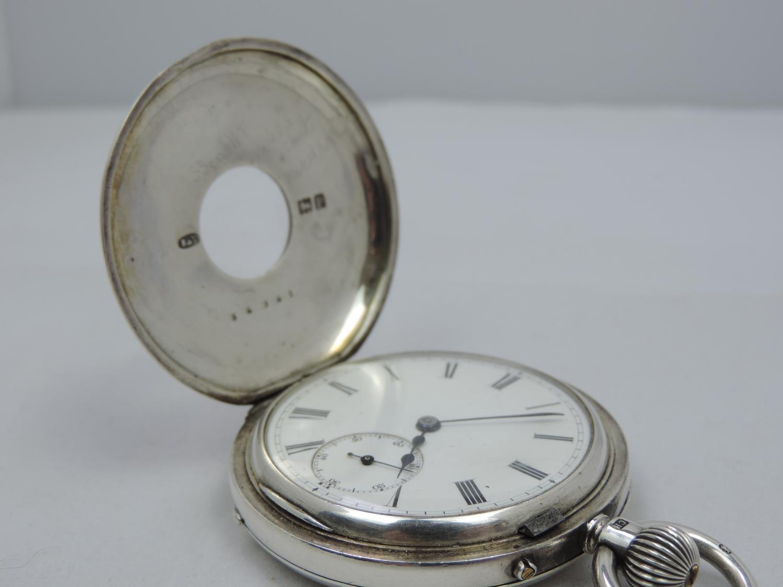 Lot 44 - Sterling Silver Half Hunter Pocket Watch Circa 1910 London - Working Condition