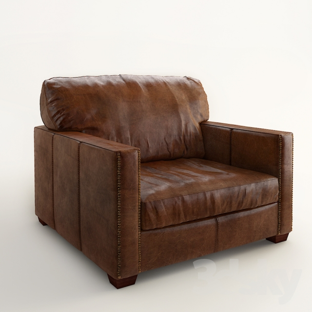 Lot 95 - Viscount William Armchair Matador Nuez Leather Its Strong, Rectilinear Shape Is Softened With The