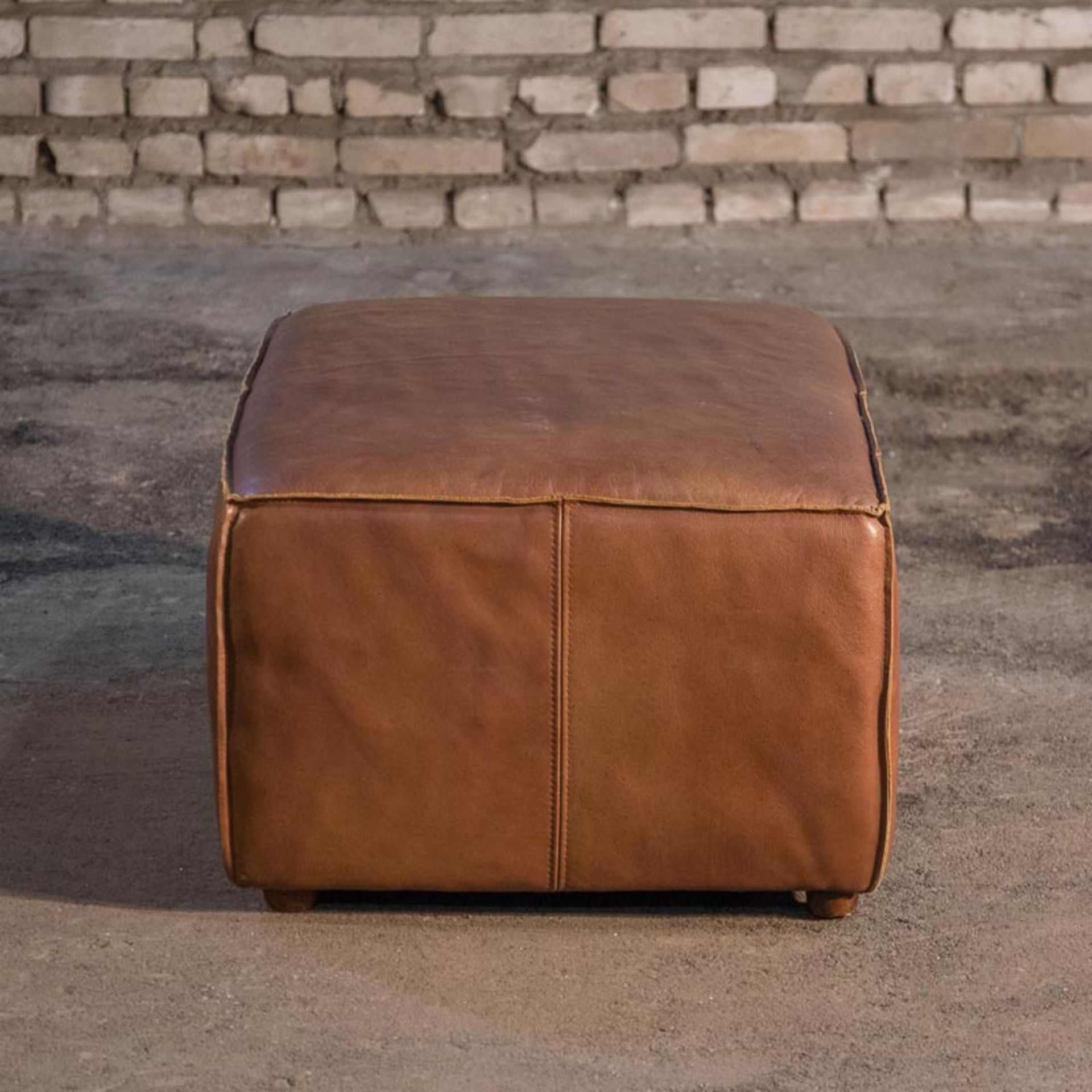 Lot 50 - Slabby Footstool Savage Leather Slabby Is Designed For Ultimate Comfort. The Worn, Slightly