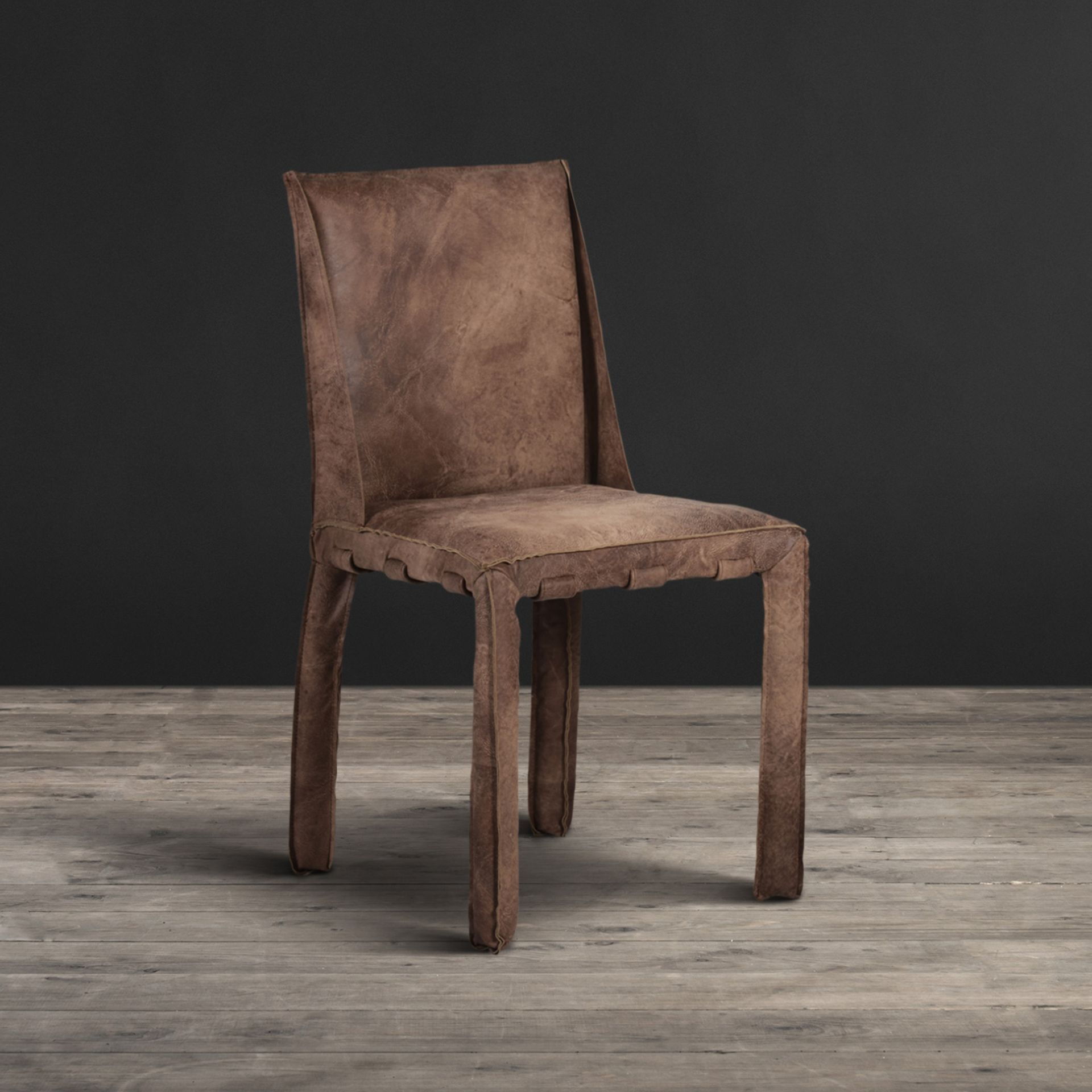 Lot 20 - Swallow Dining Chair Scarecrow Brown Leather Outfitted Top To Bottom In Our Hand Finished