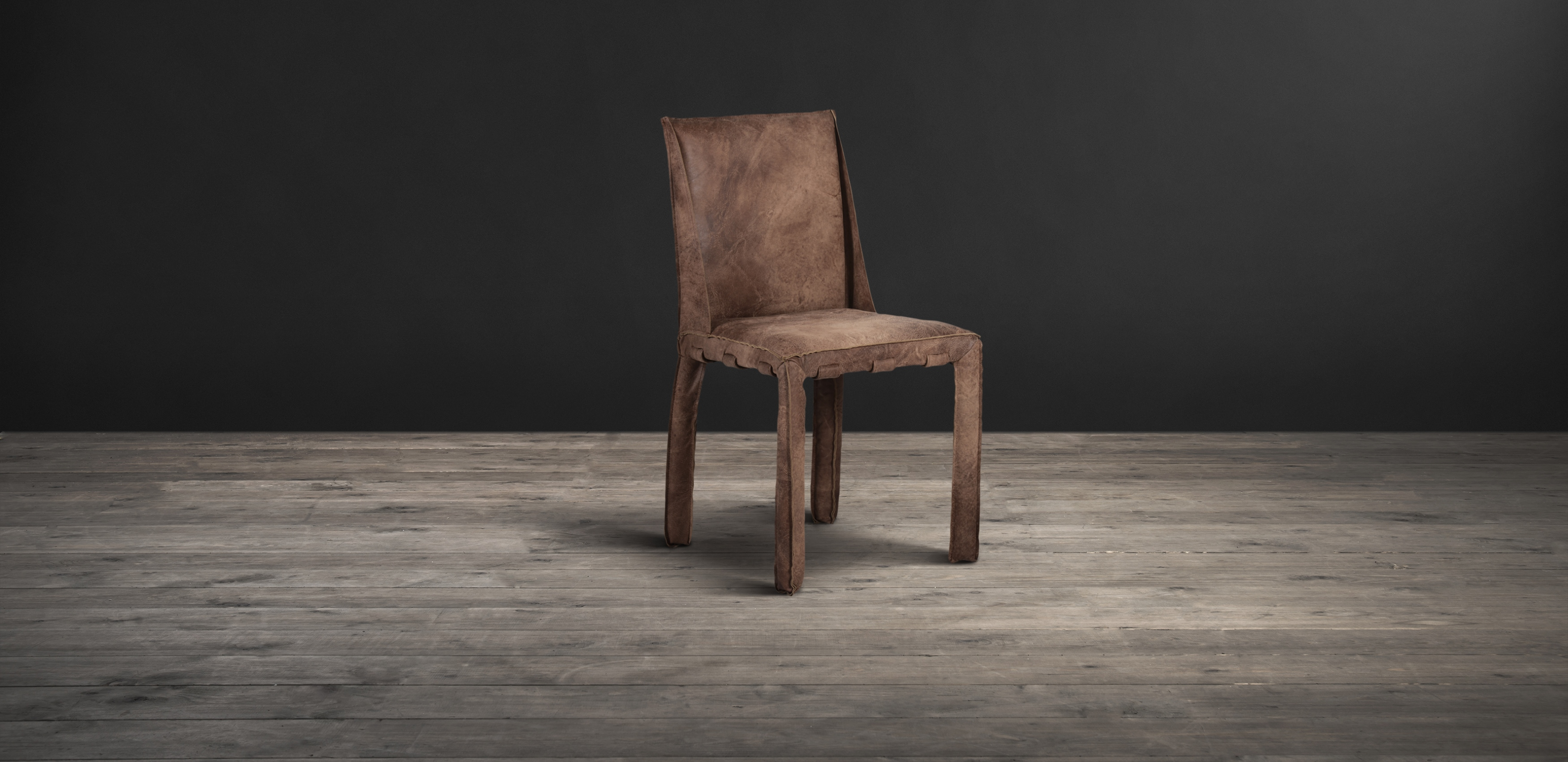 Lot 3 - Swallow Dining Chair Scarecrow Brown Leather Outfitted Top To Bottom In Our Hand Finished