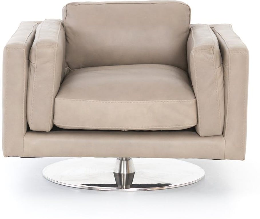 Lot 415 - Locke Swivel Armchair From The Penthouse Classics Collection The Locke Is A Generous Leather Natural
