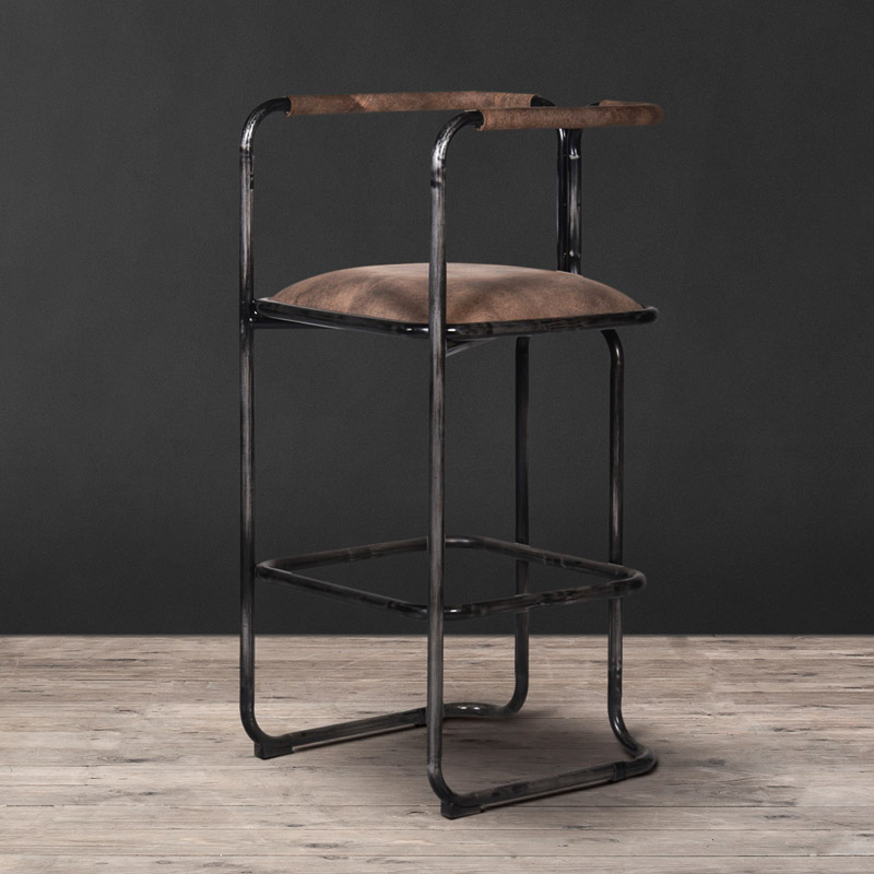 Lot 1 - Circuit Bar Stool Wrecked Black Leather Connect With Friends Over Energetic Conversation With The