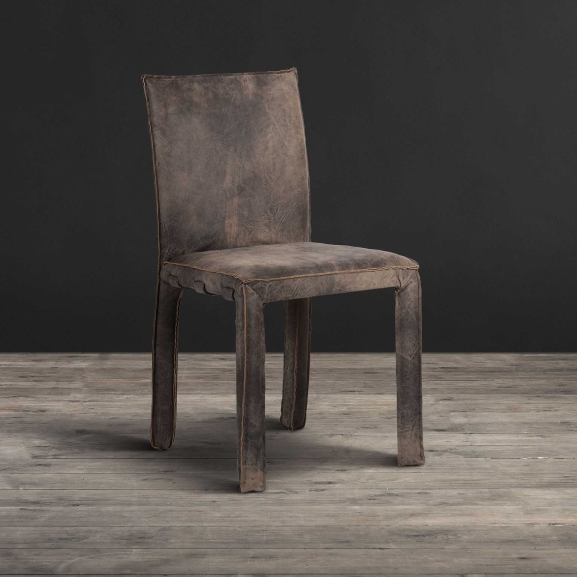 Lot 21 - Sparrow Dining Chair Scarecrow Black Leather Named After The Noisy And Gregarious British Bird,