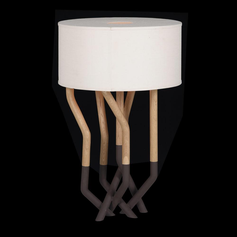 Lot 405 - Bleu Nature Oakline Table Lamp L264 (UK) Matt Black and Brown Oak RRP £895