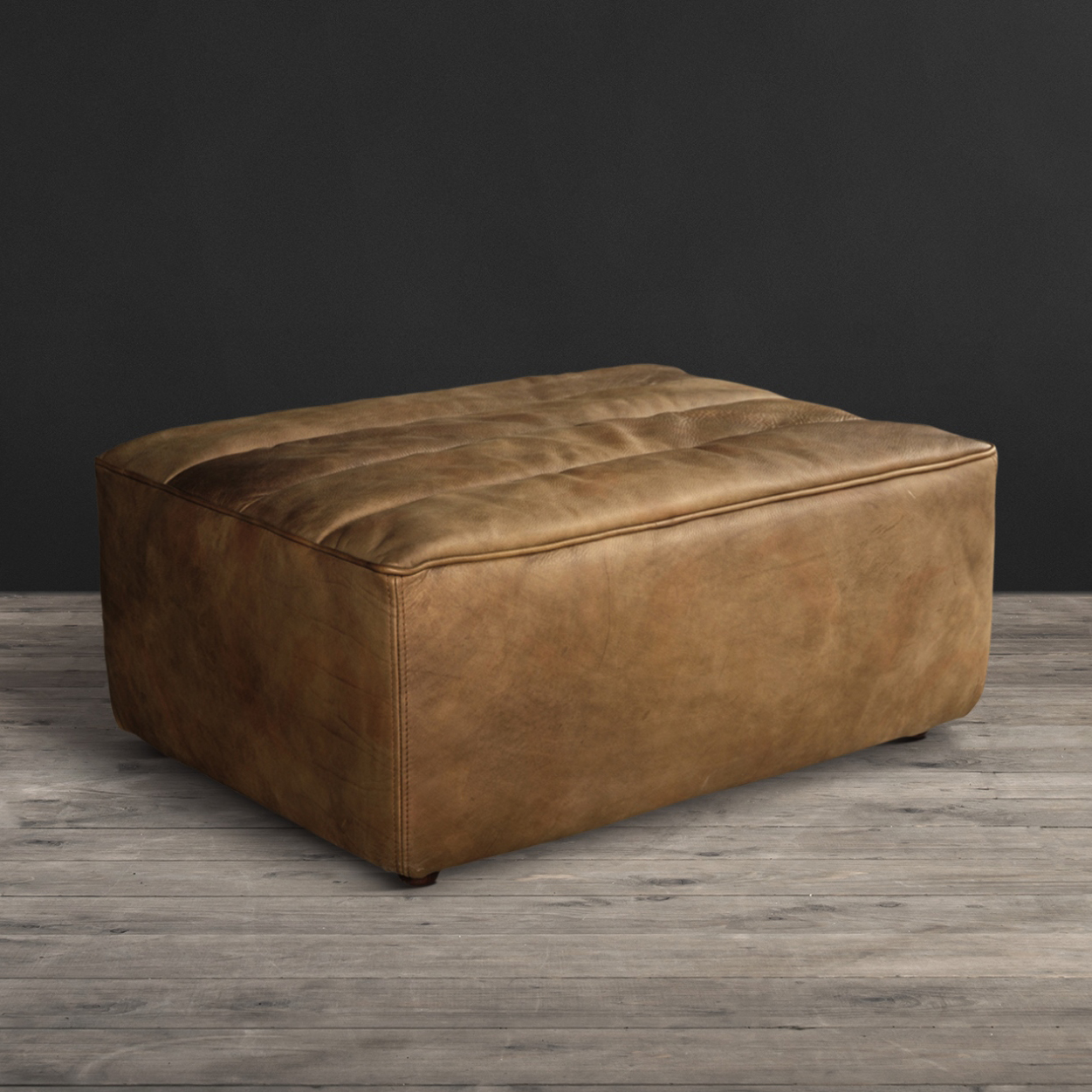 Lot 16 - Shabby Footstool Savage Leather High Impact Comfort Seating, Commonly Known As Our True '