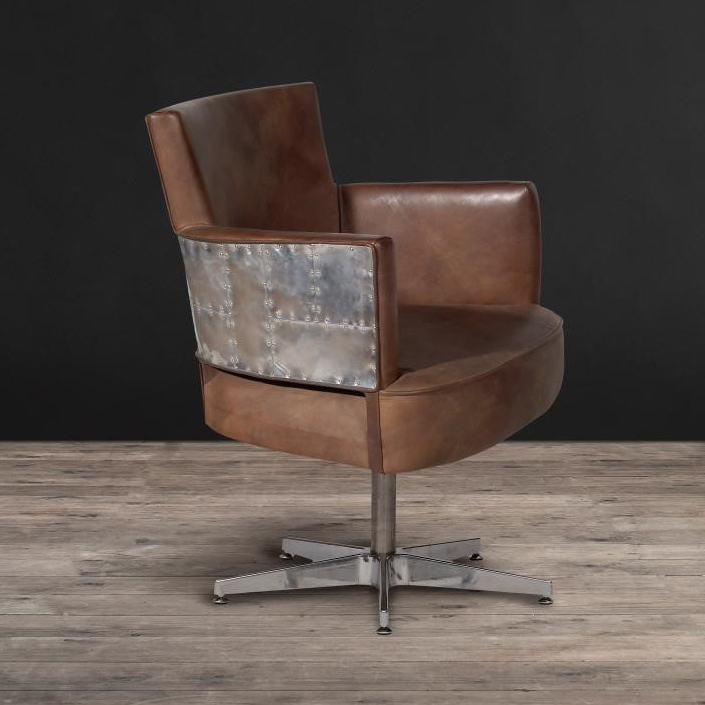 Lot 17 - Swinderby Swivel Chair Antique Whisky Leather Sojourn On The Swinderby Swivel Chair, Clad In Our