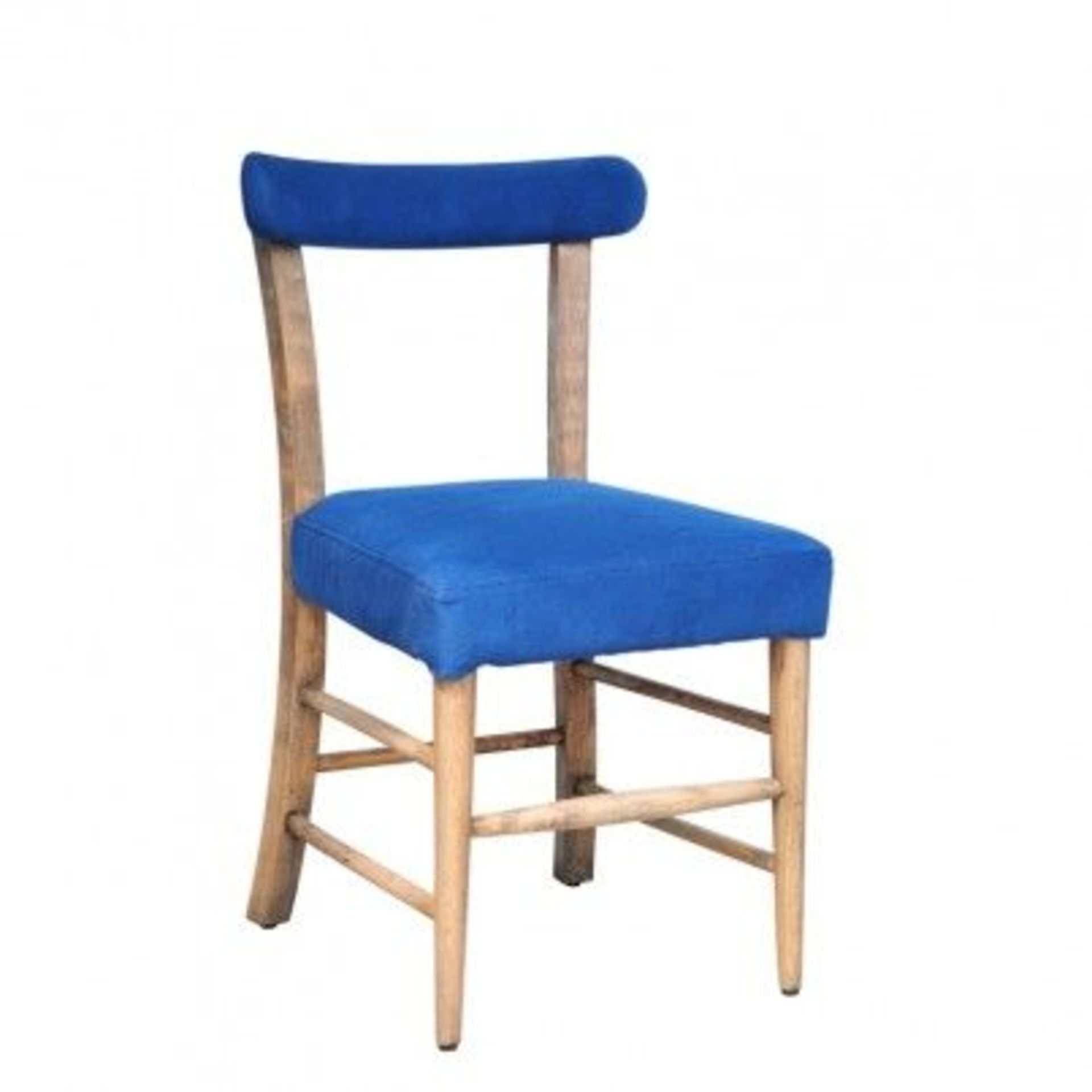 Lot 14 - Refectory Dining Chair Library Blue And Weathered Oak 51 X 57 X 87cm RRP £610