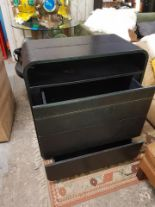 Lot 450 - Highlite Cabinet Leather 3 drawer Inspired by the light streams of car headlights on a Highway the