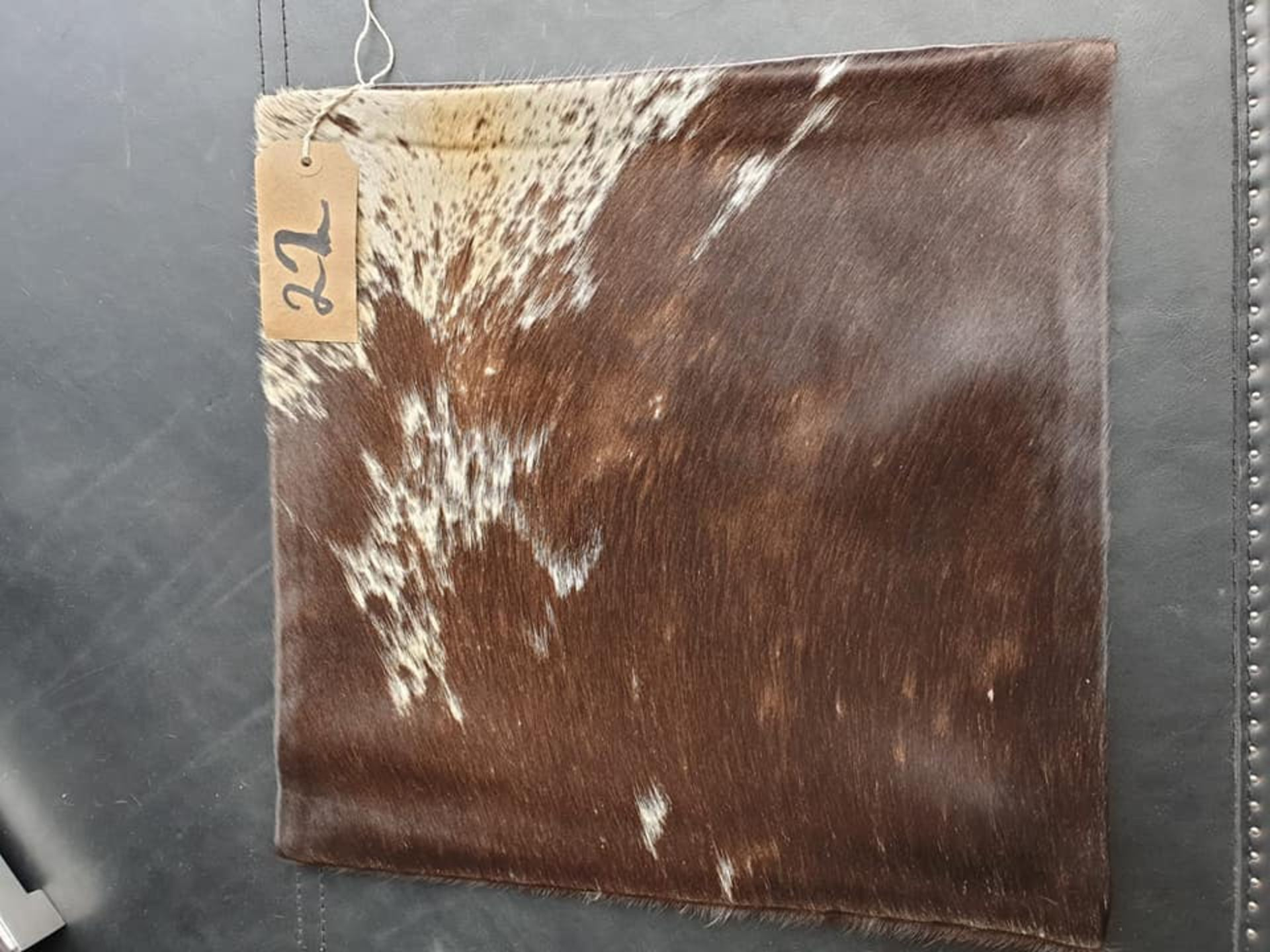 Lot 22 - Cushion Cowhide Leather Cushion Cover 100% Natural Hide Handmade Cover (Style PR435 x1) 35cm RRP £