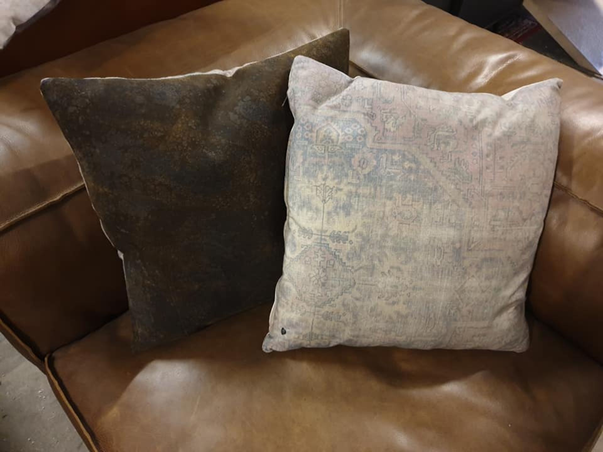 Lot 12 - Rugger Cushion Wreaked Black Leather & Patterned Fabric Timothy Oulton Took Inspiration For His