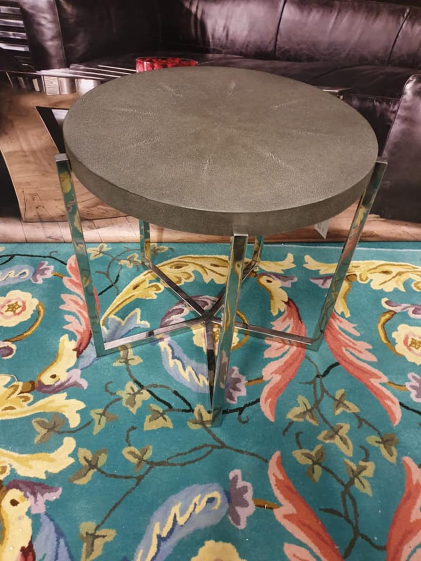 Lot 49 - Mildred Side Table Features A Circular Angled Polished Nickel Base And A Top Crafted From Grey