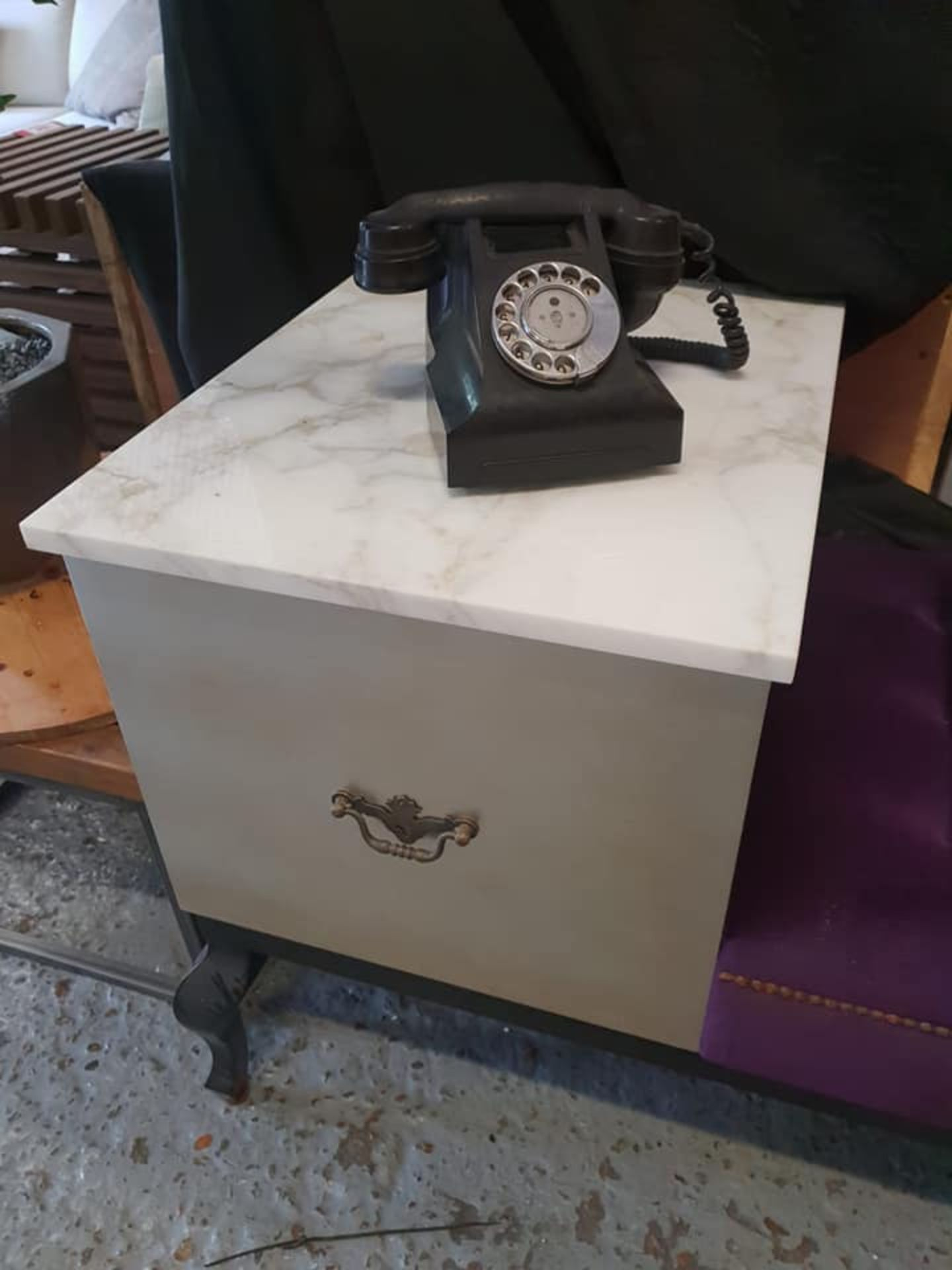Lot 57 - Telephone Table With Seat - Upholstered Tufted Bench With Queen Anne Style Legs Marble Top And