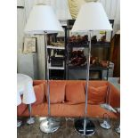 Lot 24 - A Pair Of Contardi Italia Acfo Standard Floor Lamp Brushed Steel With Neutral Shade - The Lamp
