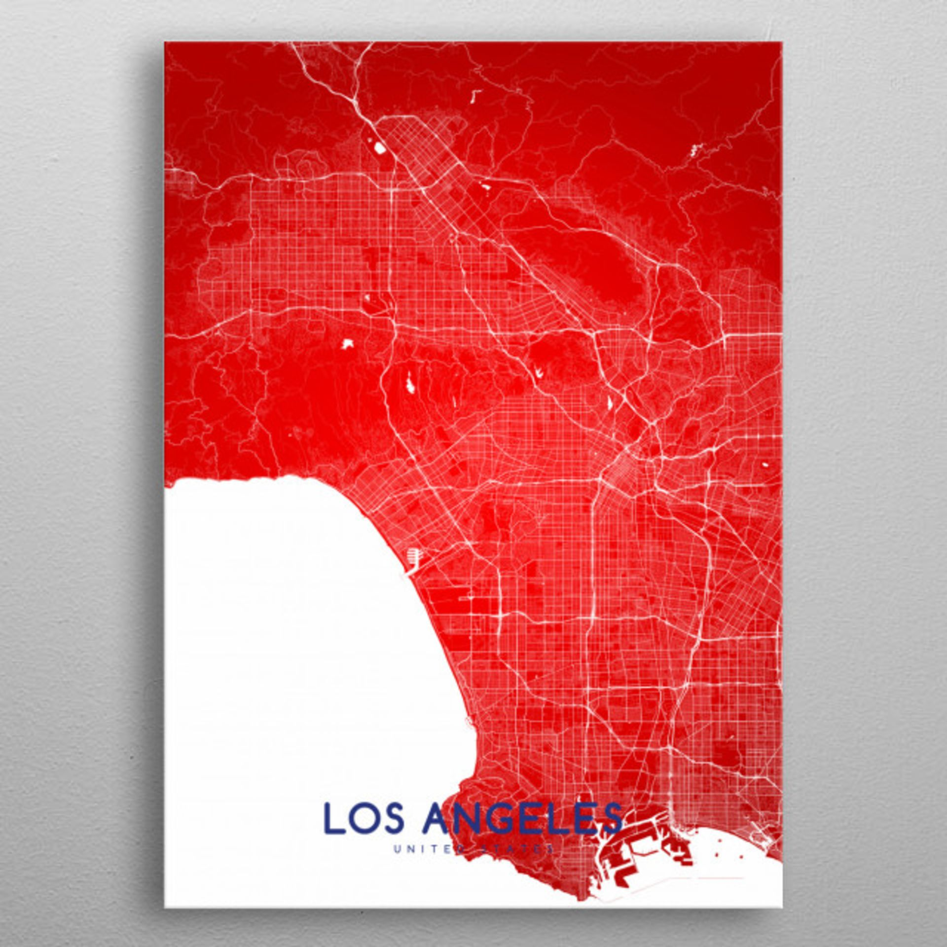 Lot 22 - Los Angeles Metropolitan Topography Map Large Vivid Metal Mounted Map Neatly Organises Urban Sprawls