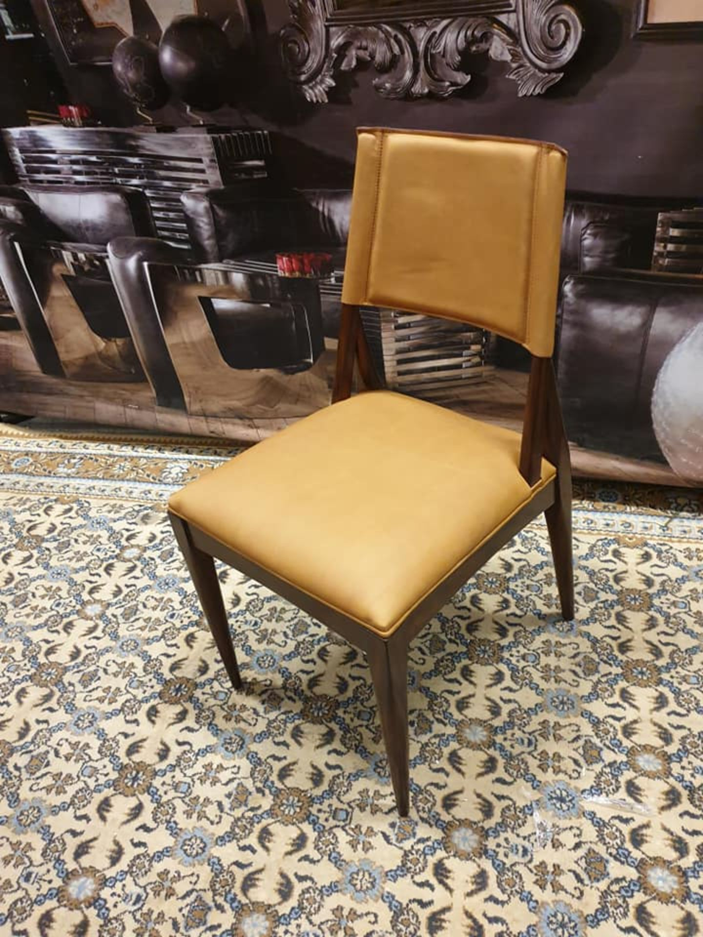 Lot 50 - Starbay Side Chair Camel Leather And Walnut Dining Chair Sleek Design Equally At Home In