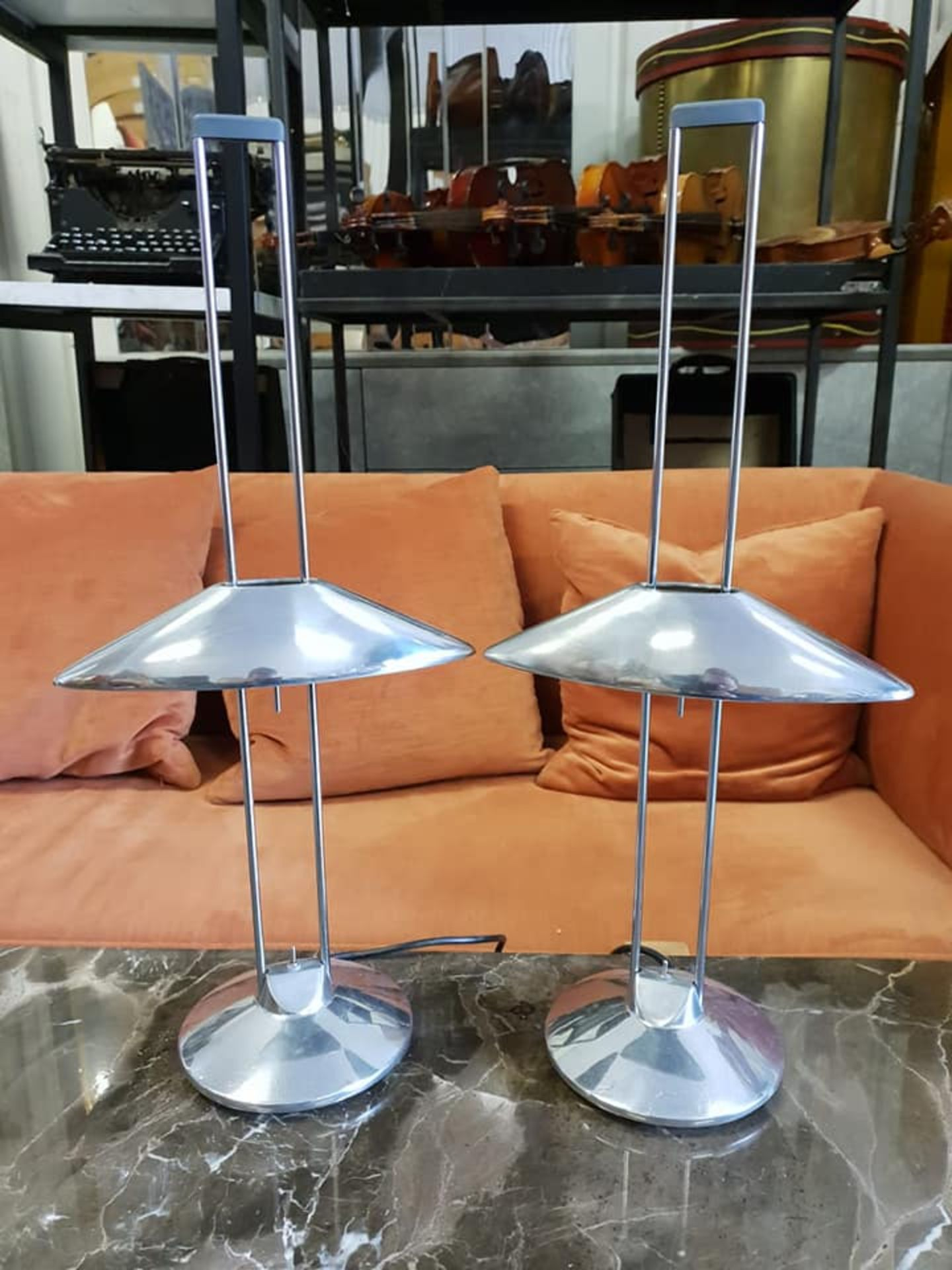 Lot 35 - A Pair Of Regina Mesa Halogen Table Lamps Designed By Jorge Pensi For B-Lux Made Of Chromed Steel