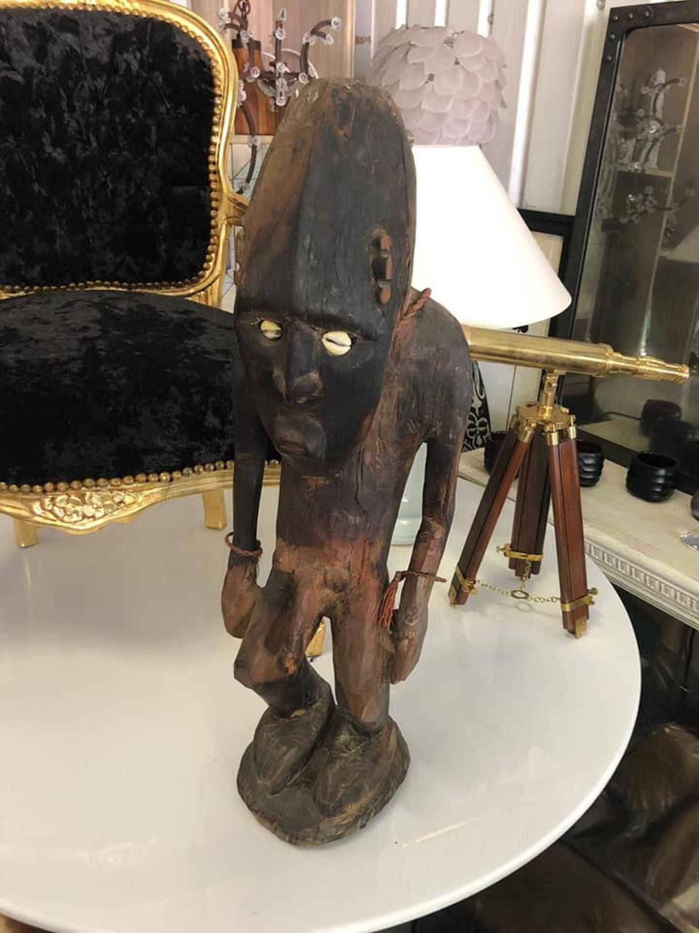 Lot 17a - African Carving Men Fertility Statue 73cm