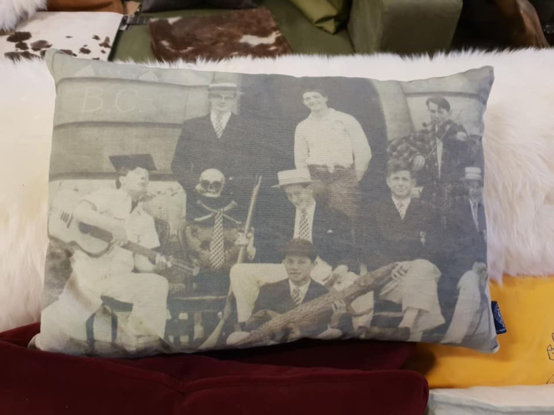 Lot 13 - Timothy Oulton Cushion Sporting England Individually Hand Dyed Onto 100% Cotton Fabric Each Part