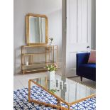 Lot 41 - Luxor Wall Mirror The Luxor Range Combines Golden Leaf Metal Frames With Antiqued Glass Shelves