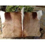Lot 33 - Springbok Cushions A Beautiful Set Of 4 x Genuine African Handcrafted Springbok Hide Cushion