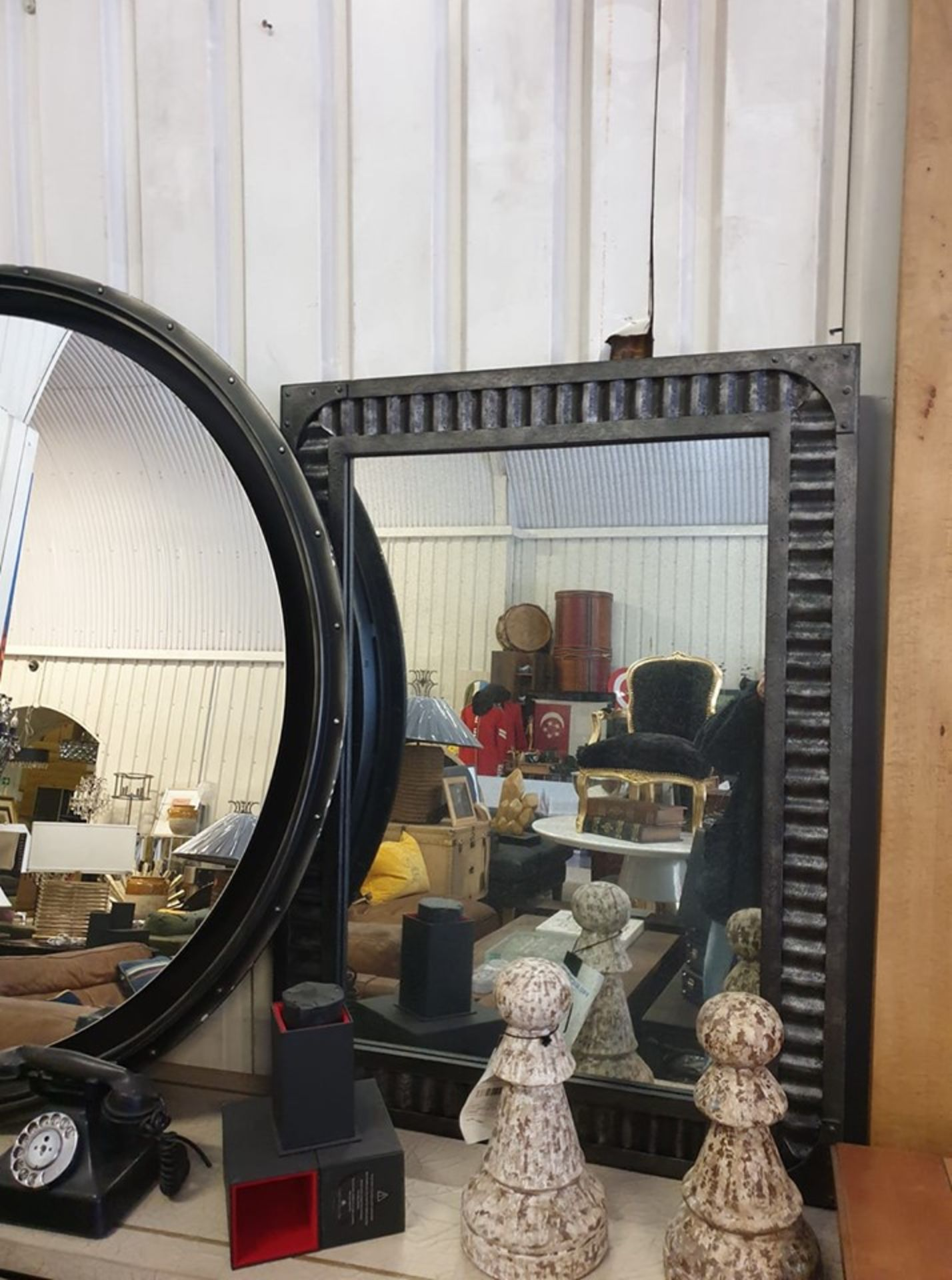 Lot 28 - Jawa Rectangular Wall Mirror Iron Frame With Corrugated Sheet Metal And Antiqued Mirror Plate A