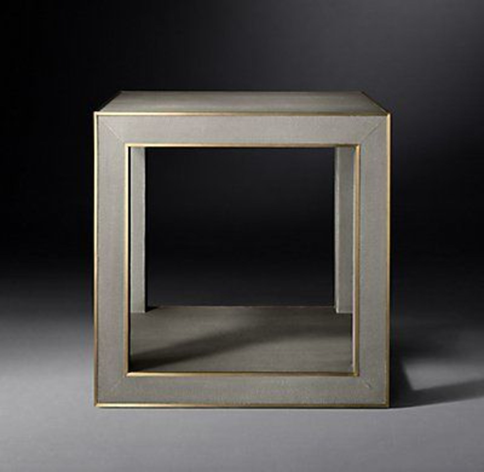 Lot 51 - Cela Grey Shagreen Square Side Table Crafted Of Shagreen-Embossed Leather With The Texture Pattern