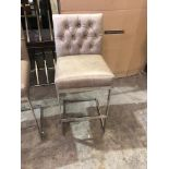Lot 26 - Coco Leather Barstool With Footrest Polished Steel Base Tufted Chesterfield Style Back 47 x 36 x