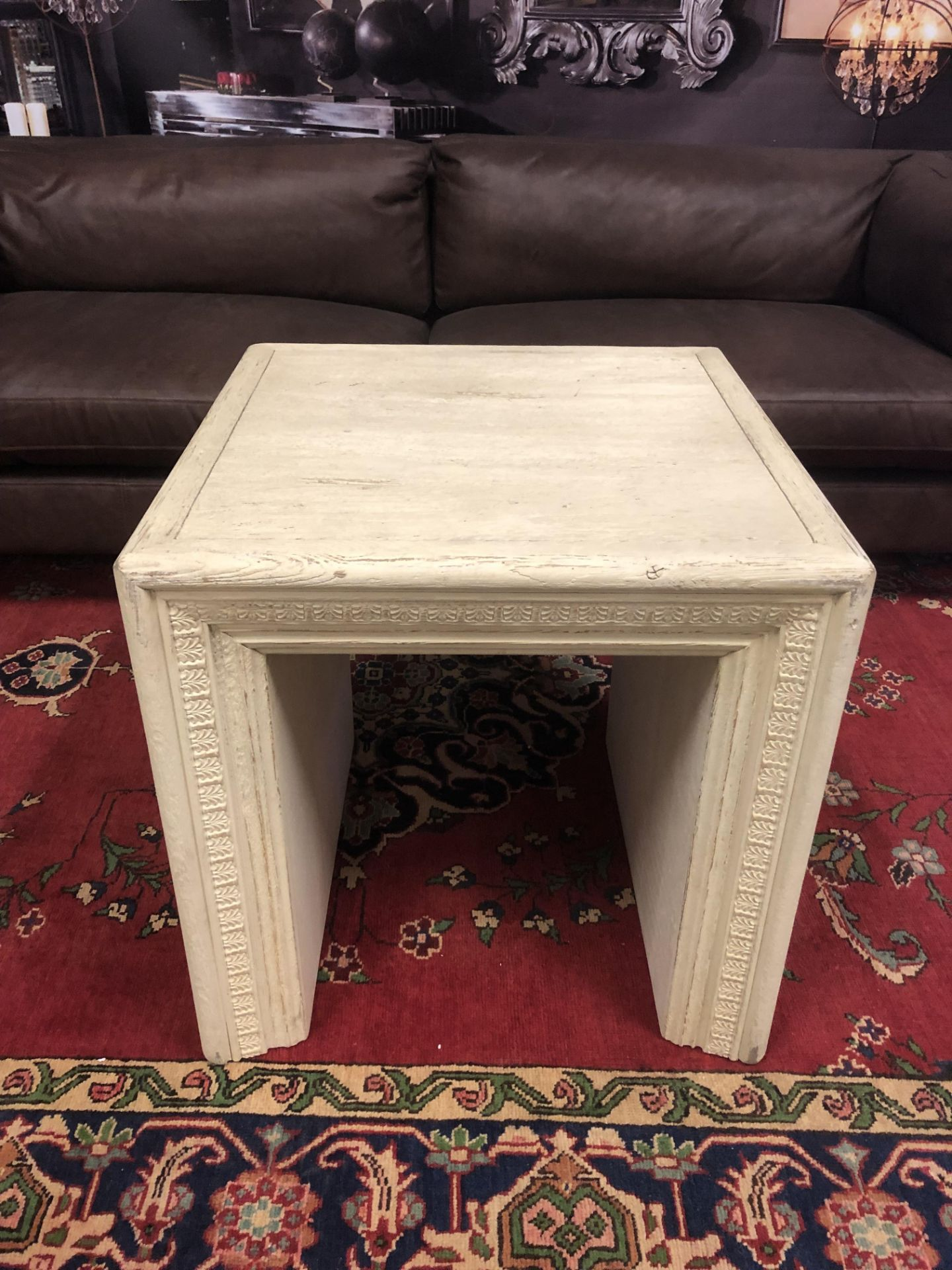 Lot 56 - Oak Carved Side Table The Portrait Side Table Made From Solid 100% Oak That Has Been Bleached To