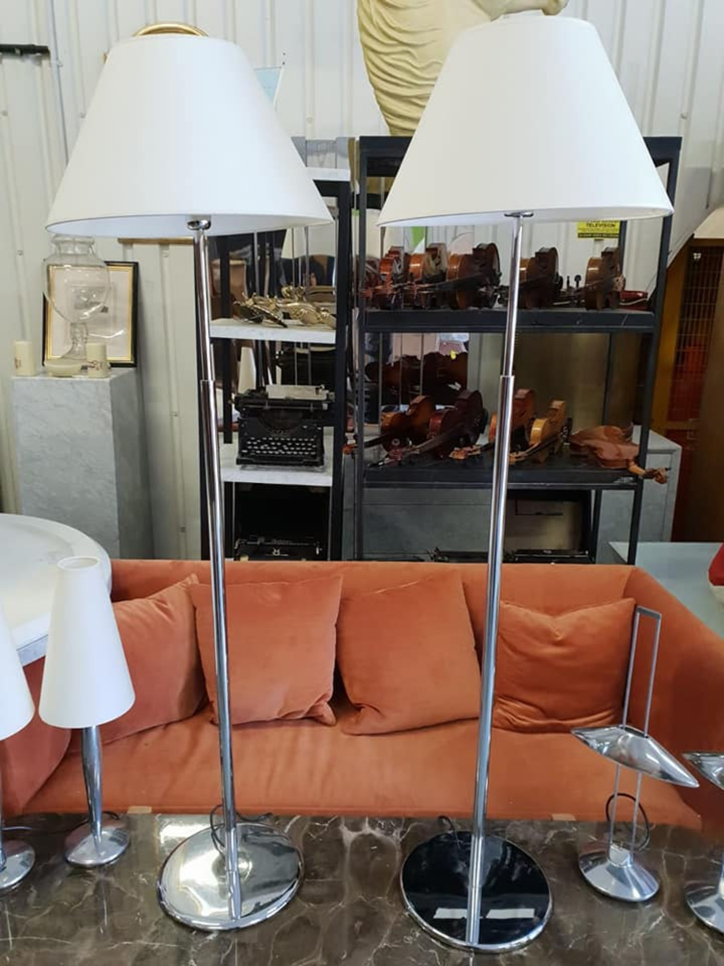 Lot 23 - A Pair Of Contardi Italia Acfo Standard Floor Lamp Brushed Steel With Neutral Shade - The Lamp