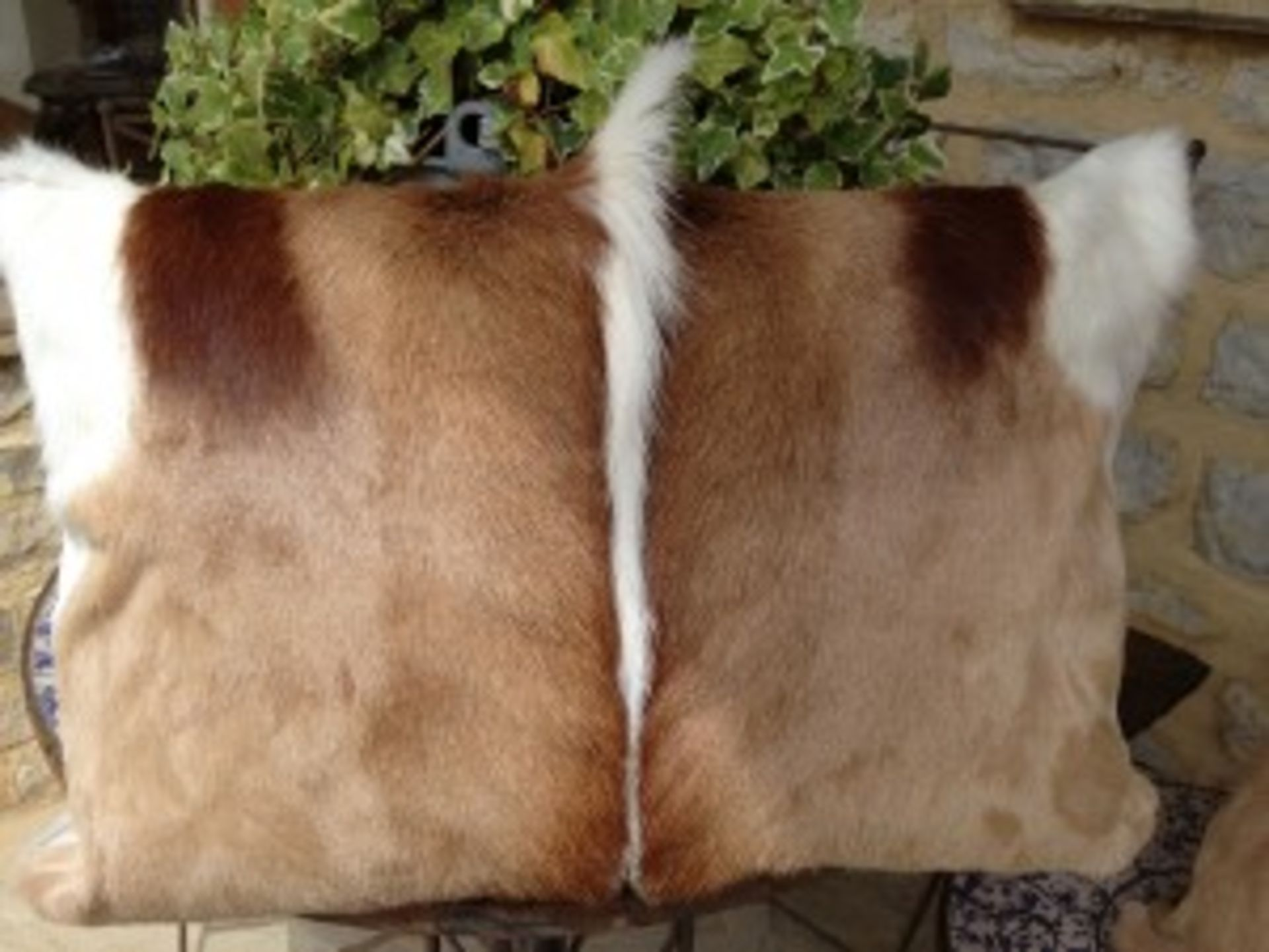 Lot 34 - Springbok Cushions A Beautiful Set Of 4 x Genuine African Handcrafted Springbok Hide Cushion