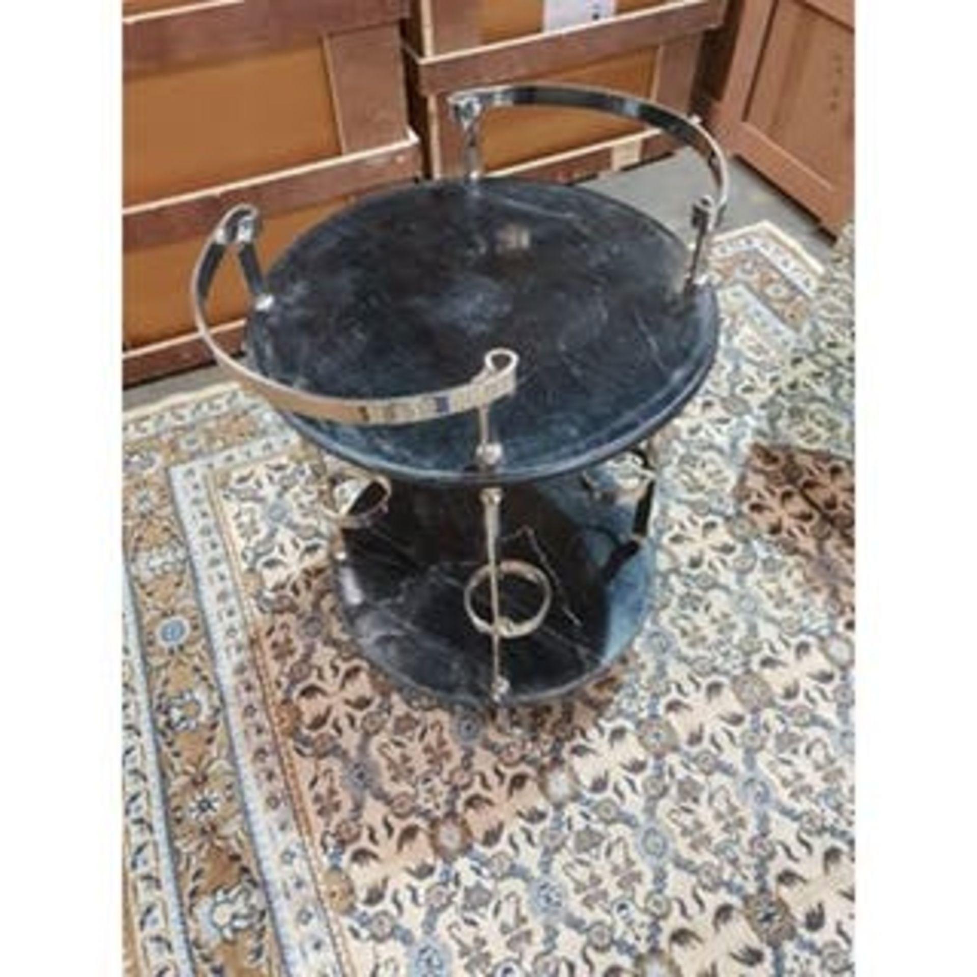 Lot 202 - Deco Bar Cart Black Marble-Top and Nickel Bar Cart