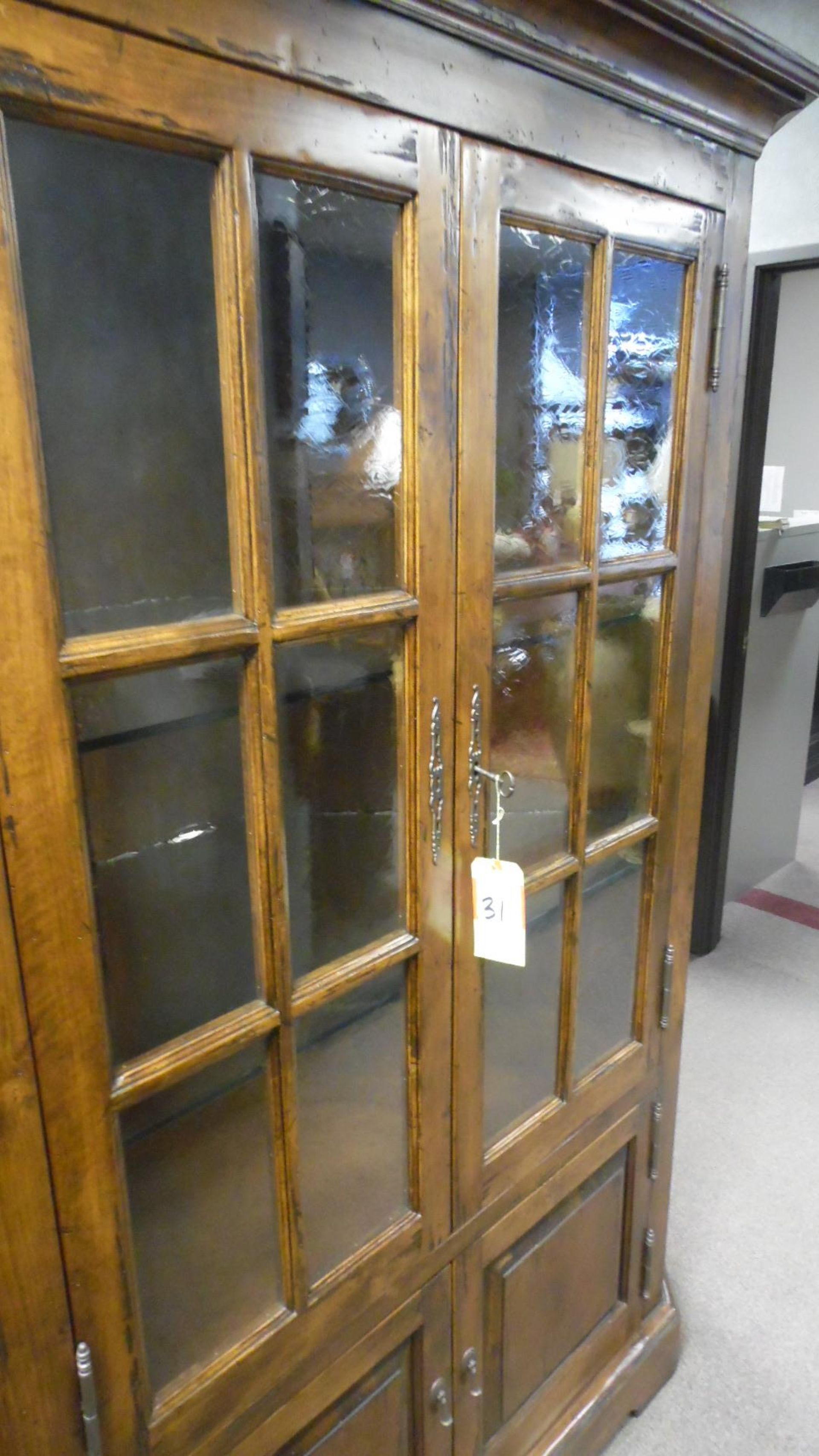Lot 31 - RUSTIC CABINET w/ GLASS SHELVES