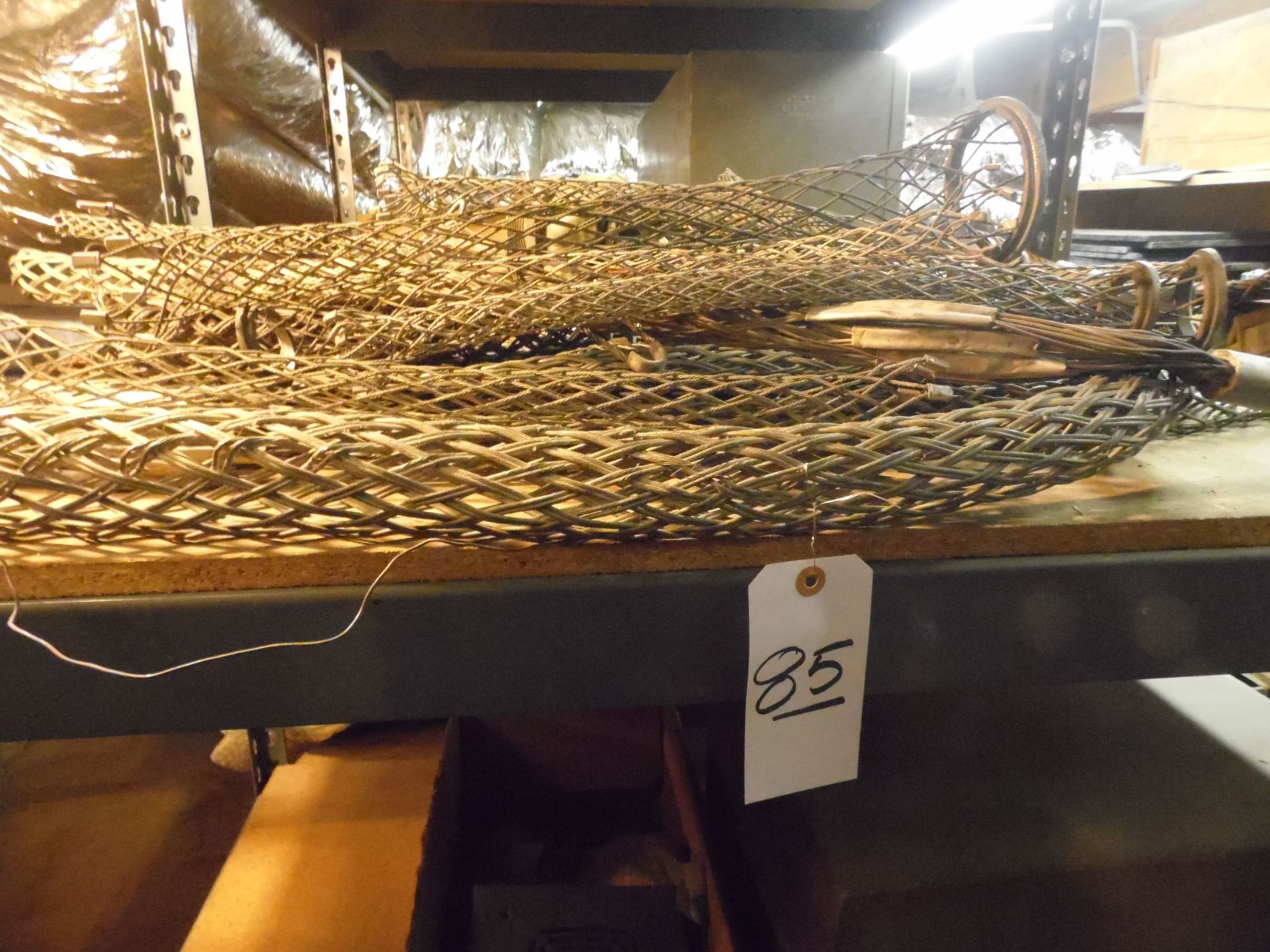 Lot 85 - RACK w/ BRAIDED CABLE, COILS, LIGHTS