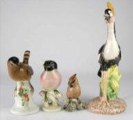 Konvolut Vögel20. Jh. Porzellan mit polychromem Dekor. Unterschiedliche Marken, meist Thüringen etc.