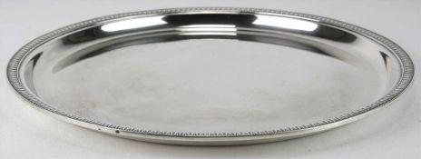 SilbertablettDeutsch. Silber 925 punziert und Herstellerpunze Wilkens. Durchmesser ca. 24 cm, Höhe