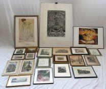 Konvolut RahmenGraphiken, Drucke (Schiele, Dali) etc. Größtes Format ca. 106 x 96 cm. Bitte selbst