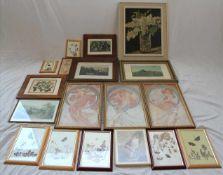 Konvolut RahmenTeils Ölgemälde, Graphiken, Drucke, Collagen. Größtes Format ca. 65 x 56 cm. Bitte