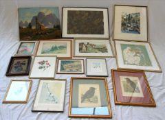 Konvolut RahmenTeil Ölgemälde (ohne Rahmen), Graphiken, Drucke, Collagen. Größtes Format ca. 51 x 71