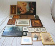 Konvolut RahmenEin Ölgemälde (ohne Rahmen), Graphiken, Drucke, Collagen. Größtes Format ca. 77 x 100