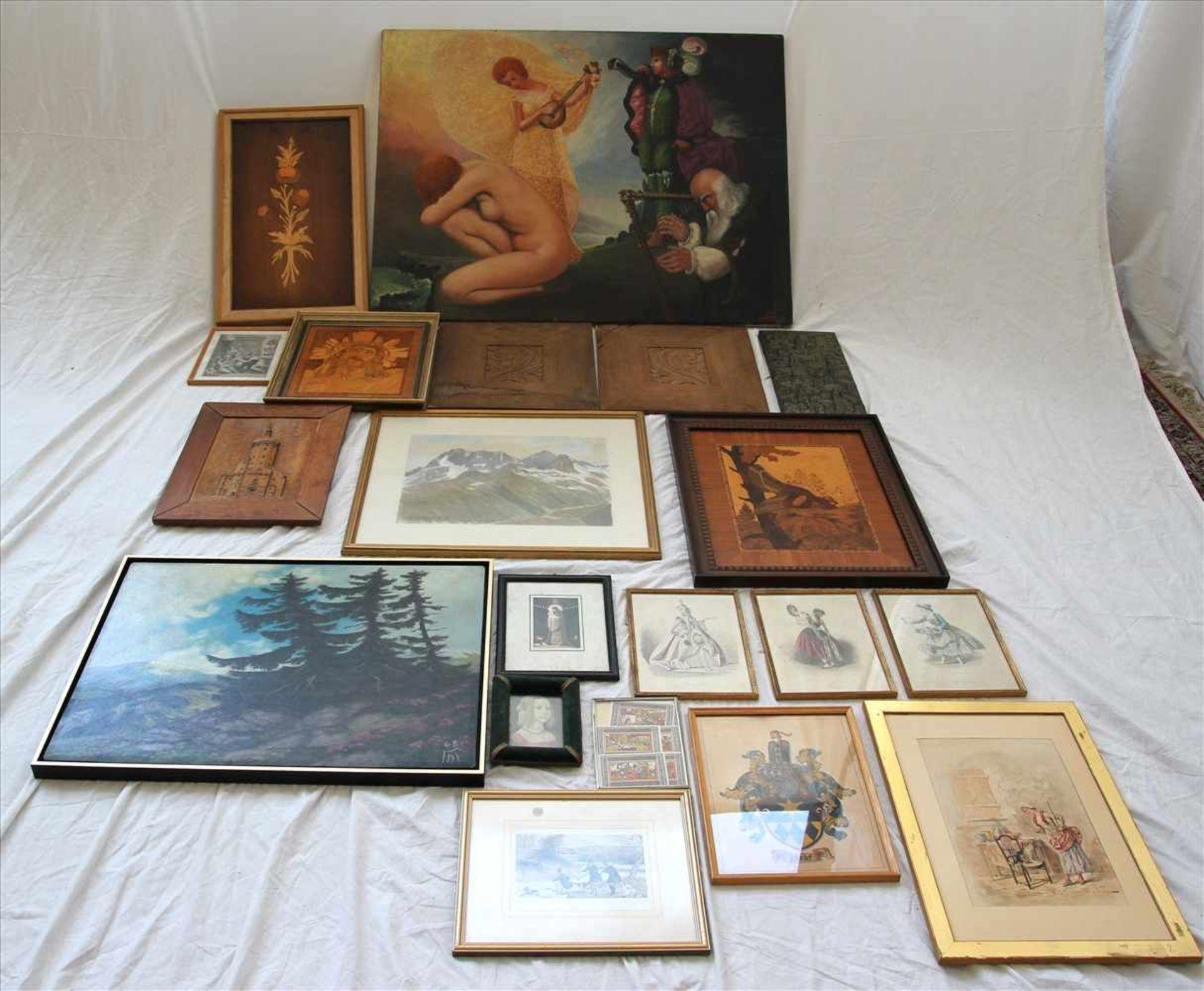 Los 57 - Konvolut RahmenEin Ölgemälde (ohne Rahmen), Graphiken, Drucke, Collagen. Größtes Format ca. 77 x 100