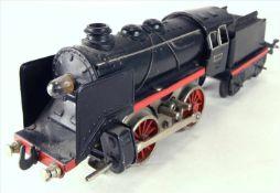 Dampflokomotive Spur 0Karl Bub späte 1940-er Jahre. Dampflok mit Tender. Elektroantrieb.