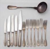 Konvolut Restbesteck 19. Jh. Silber. Sechs diverse Gabeln, Silber, Gewicht ca. 400 Gramm. Diverse