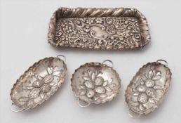 Konvolut Schälchen19. Jh. Silber 800. Drei kleine Sommelierschälchen in oval und rund mit