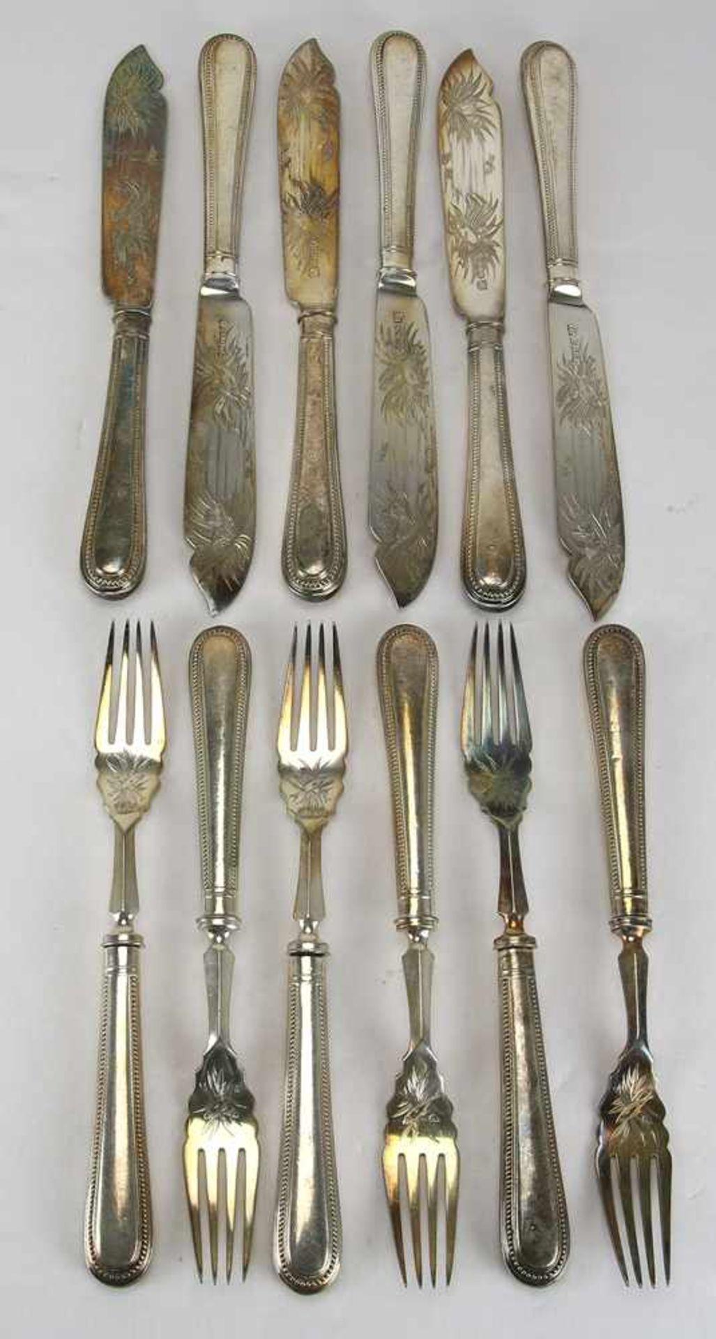 FischbesteckEngland um 1900. Silber Plated. Jeweils Manufakturmarken und Hersteller H.W.S. Länge