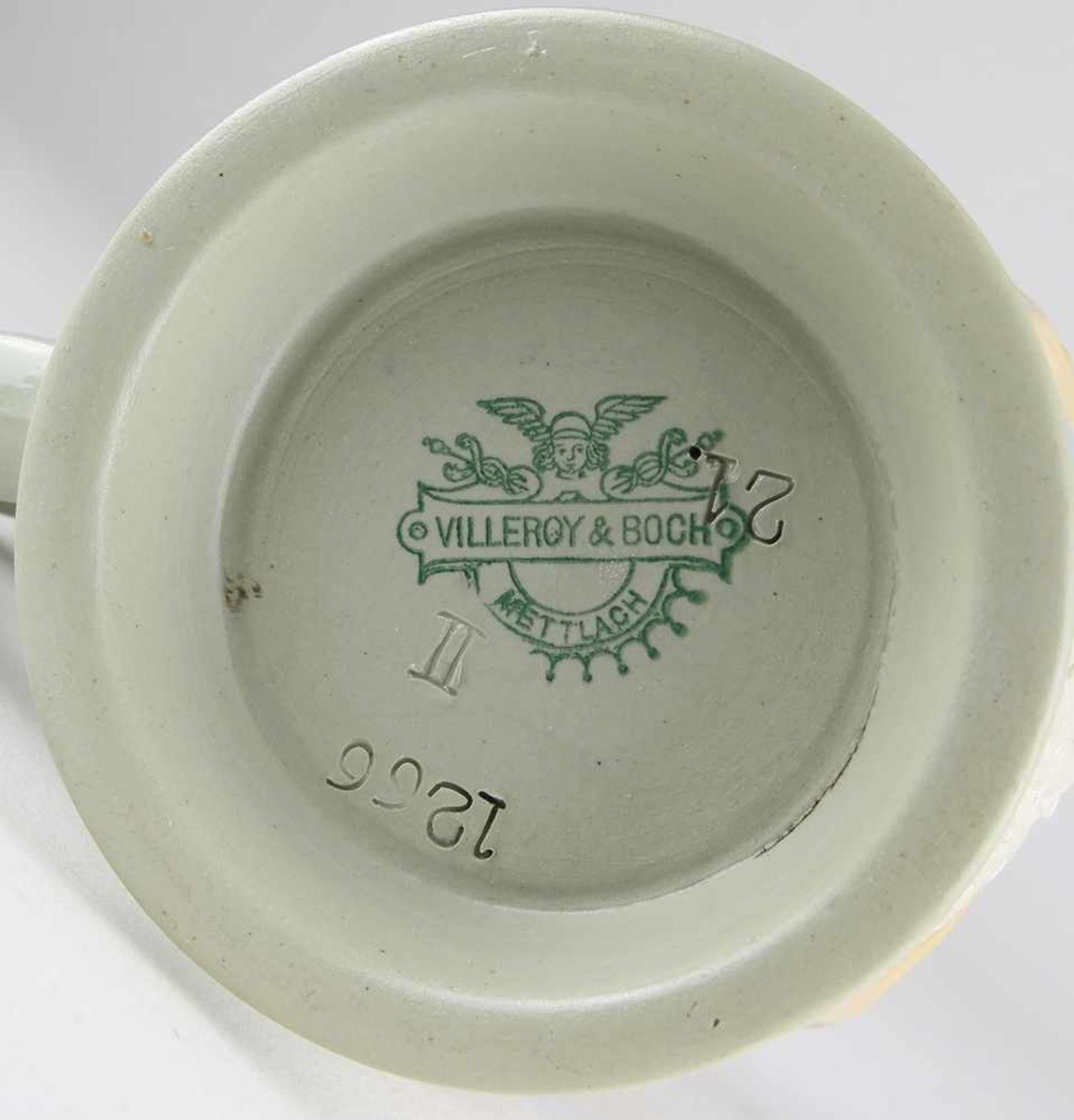 DamenbierkrugVilleroy & Boch, Mettlach um 1900. Grauer Scherben mit umlaufender aufgelegter - Bild 4 aus 4