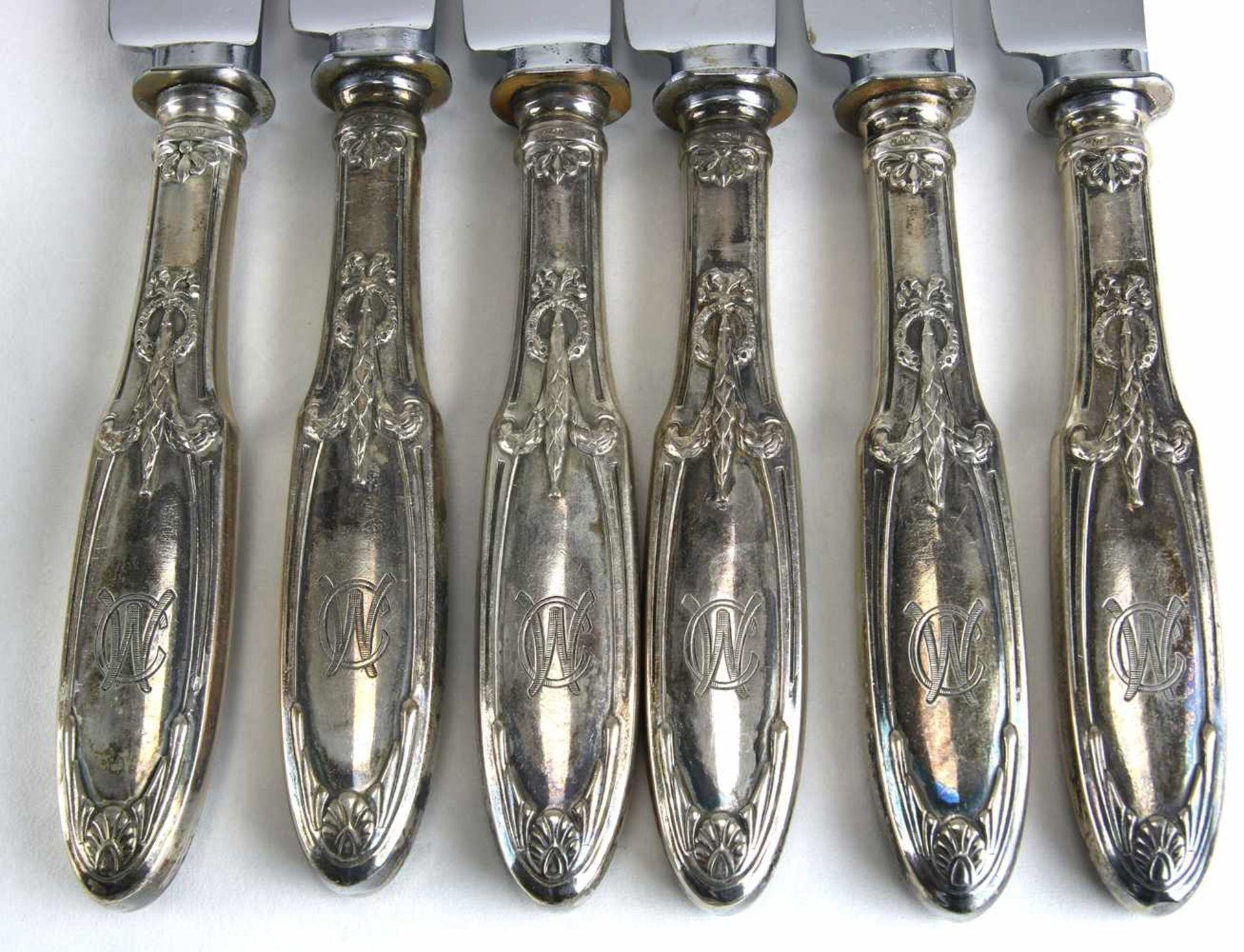 Speisebesteck für sechs PersonenDeutsch um 1900. Silber 800 punziert, Halbmond, Krone und - Bild 5 aus 6