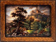 KPM BildplatteBerlin 19. Jh. Porzellanbild mit der Ansicht der alten Wartburg. Königliche