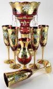 Konvolut böhmisches Glas20. Jh. Rotes Farbglas mit reichem Golddekor und polychromer, floraler