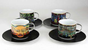 Hundertwasser, FriedensreichVier Kaffeetassen mit Unteren. Porzellan mit polychromem Dekor.